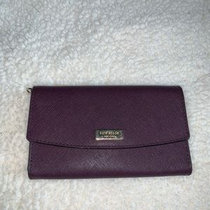 Kate Spade Maroon Purple TriFold Leather Wallet